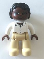 *NEW* Lego DUPLO Female BROWN Head BLACK Hair TAN Legs WHITE Top with Buttons