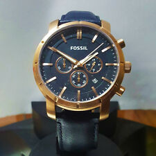 NEW FOSSIL CHRONOGRAPH BQ2134 Men's Rose Gold Navy Blue Leather Strap Watch