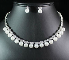 PEARL CLEAR AUSTRIAN RHINESTONE CRYSTAL NECKLACE EARRINGS STUDS SET BRIDAL N1600