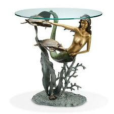 Mermaid & Sea Turtle Accent End Table Nautical Coastal Sculpture ~ SPI Home