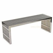 """MODERN STAINLESS STEEL SLAT MEDIUM 47"""" BENCH SEAT COFFEE TABLE INDOORS OR OUT"""