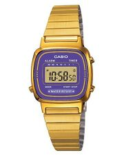 Casio Ladies Digital Stainless Steel Calendar Stop Watch, Gold & Purple