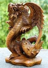 "12"" Hand Carved Wooden Dragon Statue Sculpture Figurine Art Decor Collectible"