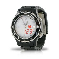 Fashion S-Pulse Heart Rate and Dual Time Zone Watch with Large LED Readout - Men