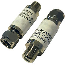 -6db F-Type Connector In-Line Attenuator Adapter –Volume/Noise Reduction Coaxial