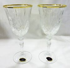 Da Vinci crystal collection set of two gold border red wine goblet italy