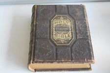 ANTIQUE 1890's LEATHER HOLY BIBLE SPAFFORD FAMILY HISTORY 3000+ Illustrations