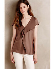 Meadow Rue Anthropologie V Neck Ruffle Cascade Blouse Taupe Size Medium NWT