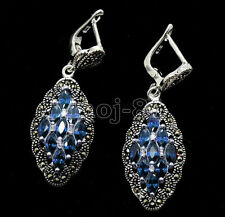 Fashion Women's Blue Sapphire 925 Sterling Silver Marcasite Leverback Earrings