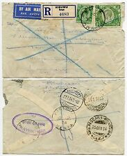 KENYA KUT to DENMARK via ITALY REGISTERED AIRMAIL 1934