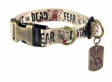 """THE WALKING DEAD FIGHT THE DEAD FEAR THE LIVING dog collar XLRG 21""""-34"""" + Leash"""