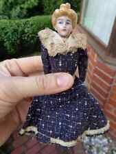 Antique German dollhouse doll c1900 molded hair original blue dress LOVELY LADY