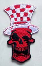 Magician Red Skull Chess Top Hat Embroidered Iron on Patch Free Shipping