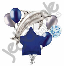 7 pc Silver Jumping Dolphin Balloon Bouquet Happy Birthday Baby Shower Ocean Sea
