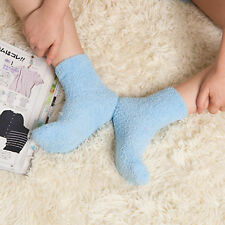 Womens Casual Fuzzy Thick Warm Candy Colors Slipper Socks Ladies Girls Hosiery *