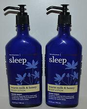 LOT OF 2 BATH & BODY WORKS AROMATHERAPY SLEEP WARM MILK HONEY CREAM LOTION PUMP