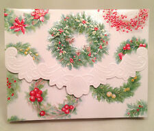"Carol Wilson ""Holiday Wreaths"" Christmas Portfolio 10 Cards/Envelopes Embossed"