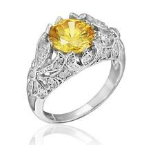 Edwardian Era Inspired Sterling Silver 3.20ct TW Yellow and White CZ Ring Size 7