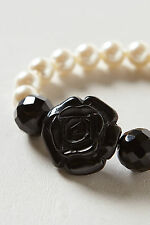 Anthropologie Classic Rose Bracelet, Faux Pearls & Black Rose By Marina Fossati