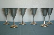 """6 Silver Goblets Electroplate over Brass Made in Spain 5 5/8"""" tall smooth Stem"""