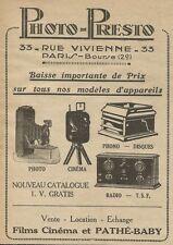 W0750 PHOTO PRESTO - Films Cinèma et Pathè Baby - Pubblicità 1928 - Advertising