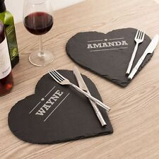 Personalised set of 2 Large Slate Hearts Just Add your Message and / or Names