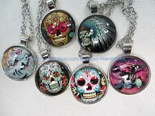 10 pieces vintage sugar skull gothic cabochon pendant necklaces wholesale