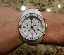 EMPORIO ARMANI AR1424 GENUINE WHITE CERAMIC MEN'S CHRONOGRAPH DESIGNER WATCH