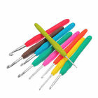9pcs Multi Colored Metal Clover Soft Touch Crochet Hook Needles Knitting Set LF