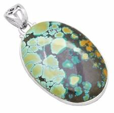 34cts.Huge Natural Turquoise Gemstone Pendant Solid 925 Silver Jewelry IP29362