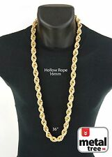 Mens Hip Hop Iced Out 14K Gold Finish Hollow Chunky Rope Chain Necklace 16mm 36""