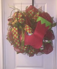 Deco Mesh Wreath With Ribbon Merry Christmas Happy Holiday Red Green Stocking