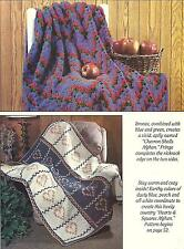 *Chevron Shells Afghan + Hearts & Squares Afghan crochet PATTERN INSTRUCTIONS