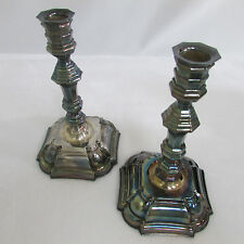 Silver Taper Georgian ? Candle Candlestick Holder Set Iridescent Old Heavy Rare