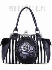 Restyle Black Rose Stripes Cameo Gothic Emo Floral Victorian Bag Purse Handbag