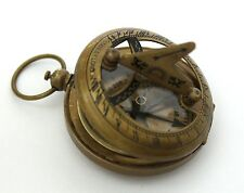 Brass Push Button Direction Sundial Compass - Pocket Sundial Compass-