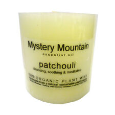 """Large 3"""" Chunky Patchouli Scented Organic Plant Wax White Pillar Candle"""