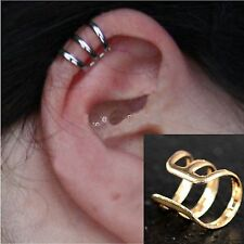 GOLD 3 BAND TOP BONE EAR CUFF CLIP WRAP LURE EARRING GOTHIC PUNK ROCK STUD HOOK