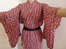 VINTAGE AUTENTICO FATTO A MANO GIAPPONESE WINE RED COTONE ESTIVA Yukata Kimono (j672)