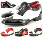 Mens Leather Lined Two Tone Black Red White Brogue Spats Shoes in UK Size 6-12