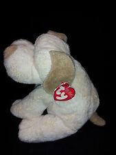 """Ty Plopper Tan Pluffies Dog Worn Ear Tag 7"""" Plush Stuffed Sewn Eyes Tylux Toy 02"""