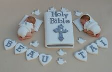 Edible twin baby Christening / Baptism cake topper Bible cake decoration topper