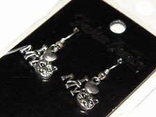 Brand New Silver 'I Love My Cat' Fashion Jewelry Earrings