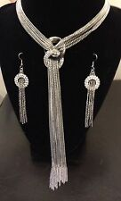 SILVER MULTI STRAND CHAIN DOUBLE CRYSTAL CIRCLE TASSEL LONG NECKLACE EARRING SET
