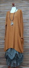 LAGENLOOK OVERSIZE*MB GERMANY*QUIRKY WAFFLE EFFECT TUNIC*MUSTARD*SIZE 1 L-XL
