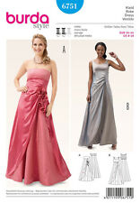 BURDA 6751 SCHNITTMUSTER DAMEN ABENDKLEID BRAUTJUNGFER BALL EDEL BALL