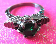 Black Platinum Rhodium Green CZ Skull With Wings Cocktail Crystal Ring Size 8 US