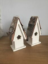 Pair of White Wooden Hanging Bird House With Flower Cut Out. Great Wedding Dec