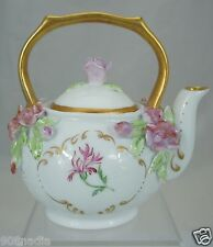 PORCELAIN SMALL TEA POT HAND PAINTED INSECT & FLOWERS,GOLD RIMS ARTIST SIGNED