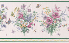 Spring Pink White Floral Flower Vintage Butterfly Gardenia Wallpaper Wall Border